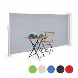 Relaxdays Seitenmarkise ausziehbar, Rollo für Balkon, Garten, Wand, UV-beständiger Sichtschutz HxB: 180 x 300 cm, grau - 1