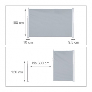 Relaxdays Seitenmarkise ausziehbar, Rollo für Balkon, Garten, Wand, UV-beständiger Sichtschutz HxB: 180 x 300 cm, grau - 3