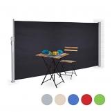 Relaxdays Seitenmarkise ausziehbar, Sichtschutz & Windschutz, Wandmontage, Kassettenmarkise HxB: 180 x 300 cm, anthrazit - 1