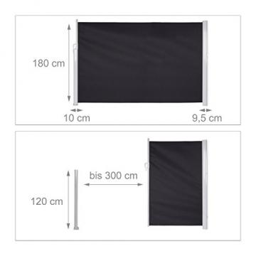 Relaxdays Seitenmarkise ausziehbar, Sichtschutz & Windschutz, Wandmontage, Kassettenmarkise HxB: 180 x 300 cm, anthrazit - 3
