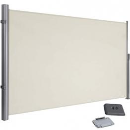 SONGMICS 160 x 300 cm (H x L) Seitenmarkise für Balkon und Terrasse, mit Bodenmontage, Sichtschutz, Sonnenschutz, Seitenrollo Beige GSA160E - 1