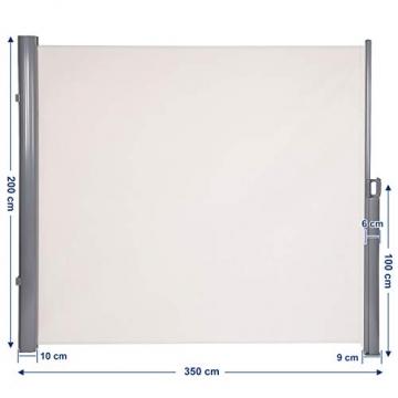 SONGMICS 200 x 350 cm (H x L), Seitenmarkise für Balkon und Terrasse, Sichtschutz, Sonnenschutz, Seitenrollo, Beige GSA205E - 4