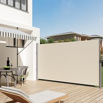 SONGMICS 200 x 350 cm (H x L), Seitenmarkise für Balkon und Terrasse, Sichtschutz, Sonnenschutz, Seitenrollo, Beige GSA205E - 5