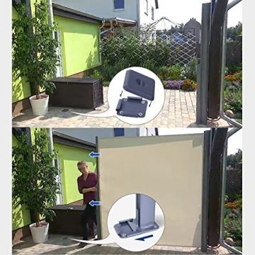 SONGMICS 200 x 350 cm (H x L), Seitenmarkise für Balkon und Terrasse, Sichtschutz, Sonnenschutz, Seitenrollo, Beige GSA205E - 9