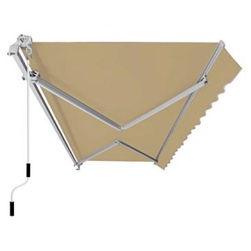 SONGMICS Gelenkarmmarkise 295 cm, Markise mit Kurbel, Sonnenschutz, Anti-UV und wasserfest, beige, 295 x 250 cm, GRA30BE - 1
