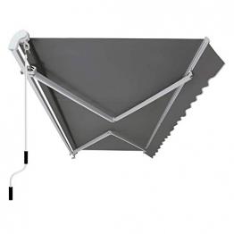 SONGMICS Gelenkarmmarkise 300 cm, Markise mit Kurbel, Sonnenschutz, Anti-UV und wasserfest, grau, 295 x 250 cm, GRA30GY - 1
