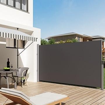 SONGMICS Seitenmarkise 200 x 350 cm (H x L) für Balkon und Terrasse, Sichtschutz, Sonnenschutz, Seitenrollo GSA205G - 2