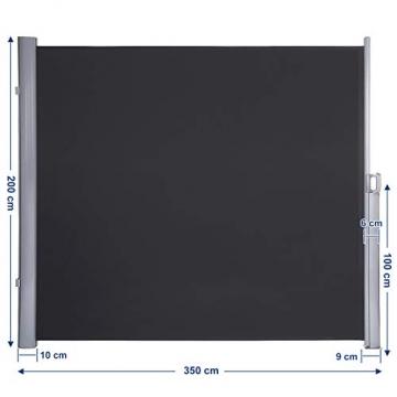SONGMICS Seitenmarkise 200 x 350 cm (H x L) für Balkon und Terrasse, Sichtschutz, Sonnenschutz, Seitenrollo GSA205G - 3