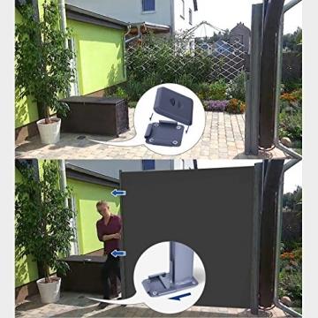 SONGMICS Seitenmarkise 200 x 350 cm (H x L) für Balkon und Terrasse, Sichtschutz, Sonnenschutz, Seitenrollo GSA205G - 6