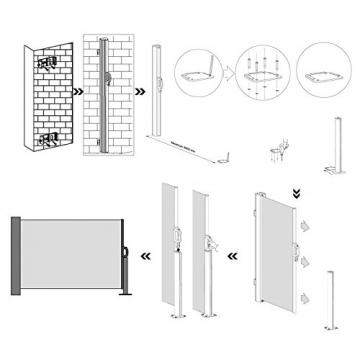 SONGMICS Seitenmarkise 200 x 350 cm (H x L) für Balkon und Terrasse, Sichtschutz, Sonnenschutz, Seitenrollo GSA205G - 9