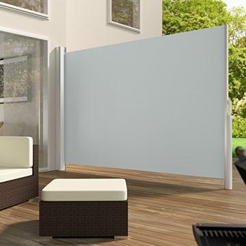 TecTake Seitenmarkise Sonnenschutz Sichtschutz Windschutz | Gehäuse und Standpfosten komplett aus Aluminium | - Diverse Farben und Größen - (Grau | 200x300cm | Nr. 401530) - 2