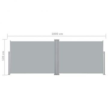 Tidyard Ausziehbarer auf 1000 cm Doppelseitiger Sichtschutz Markise,Automatischen Rückrollfunktion,Doppelseitenmarkise Garten-Seitenmarkise Seitenrollo Seitenwand Mit Montagezubehör,2 Pfosten - 3