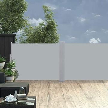 Tidyard Ausziehbarer auf 1000 cm Doppelseitiger Sichtschutz Markise,Automatischen Rückrollfunktion,Doppelseitenmarkise Garten-Seitenmarkise Seitenrollo Seitenwand Mit Montagezubehör,2 Pfosten - 7