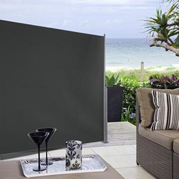 Ultranatura Maui Seitenmarkise, Seitenwandmarkise ausziehbar, Seitenrollo Balkon, Terrasse und Garten, Windschutz und Sichtschutz robust, 300 x 180 cm, grau - 7