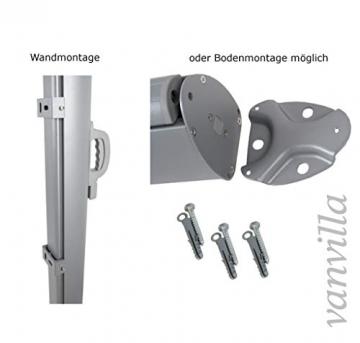 vanvilla Seitenmarkise Sichtschutz Sonnenschutz Windschutz Markise Boden- und Wandmontage Grau/Anthrazit 180x300 cm - 4