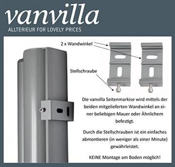 vanvilla Seitenmarkise Sichtschutz Sonnenschutz Windschutz Markise Seitenwand Anthrazit 120x300 cm - 3
