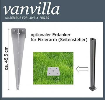 vanvilla Seitenmarkise Sichtschutz Sonnenschutz Windschutz Markise Seitenwand Anthrazit 120x300 cm - 6
