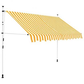 vidaXL Markise Einziehbar Manuell 300cm Gelb Weiß Sonnenschutz Klemmmarkise - 1